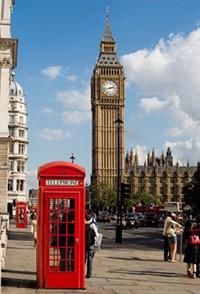 England Urlaub | Rote Telefonzelle vor dem Big Ben